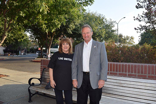 Mike Jansen and Diane Sommers the Executive Director of Suicide Prevention in Davis